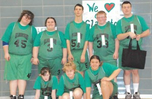 Tenacious defense helped the Gladiators beat the Jets in their first game (left), and despite a strong effort the team fell in a close one to Ohio County (right). The team (center) played hard, had fun and were honored at the Special Olympics State Tournament last weekend.