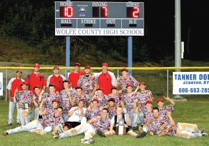 The Powell County Pirates posed for a picture in front of the scoreboard after beating Estill County 10-2 in the 14th Region Championship Game last Wednesday night. It was Powell's third title in school history and they made their first appearance at the state tournament in Lexington this week.