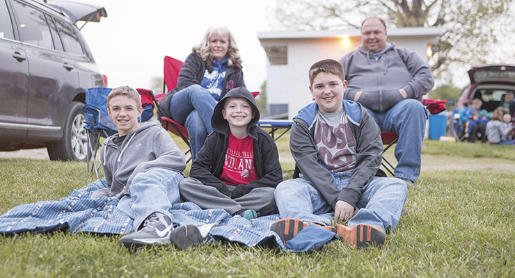Times Photo by Marla Marrs The Creech Family from Campton have been coming to the drive-in for years. They are seen here last week,  back row (r to l) Tracy and Brian, front (r to l) Logan, Caiden, and Grant.
