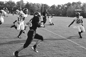A PCMS running back broke loose for a huge gain against West Carter last week. Photo by James Cook