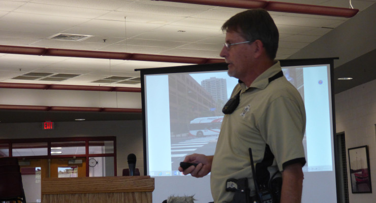 SAO Kevin Babcock presented a slide show to members of the school board last Monday evening. He showed photos of places that the members of the FCCLA were able to visit while in San Diego over the summer. Photo by Megan Parker.